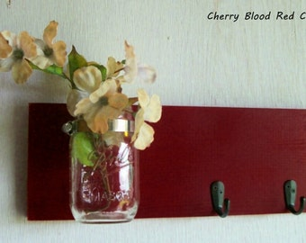 Wood Wall Shelf Fall Rich Cherry Red Color with 2 Black Hooks Bathroom Kitchen Shabby Cottage Chic