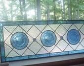 Cobalt Ballerina stained glass panel