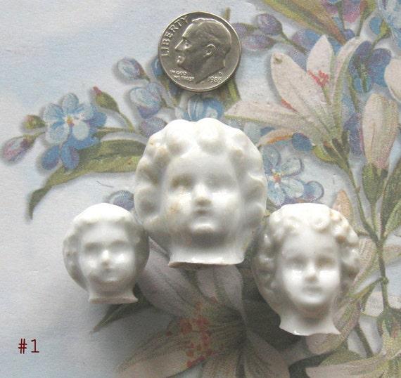 German Frozen Charlotte Doll Head MINI Antique Doll Body Head Part Assemblage Diy Jewelry Altered Art Assemblage