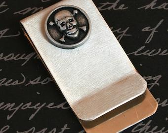 Money / Card Clip - Skull and Crossbones, Large
