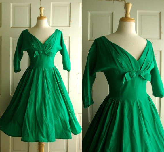 1950s Emerald Green Party Dress / Vintage Taffeta Dress