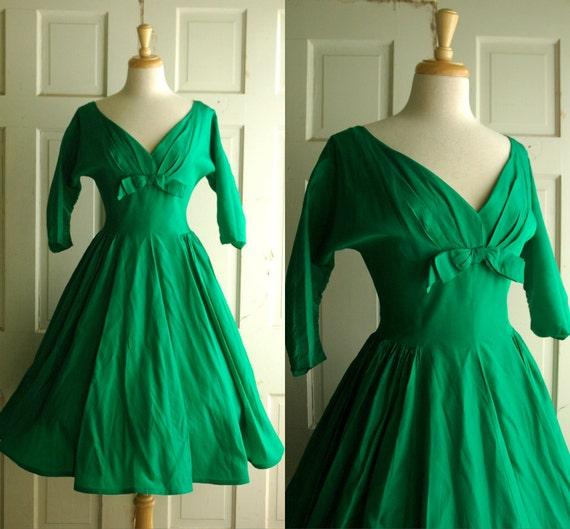 1950s Emerald Green Party Dress / Vintage Taffeta Dress