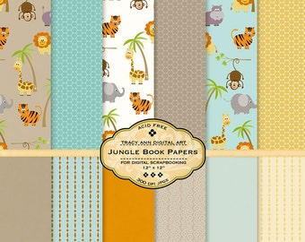 Jungle Scrapbook  Digital Paper Pack - Jungle Book