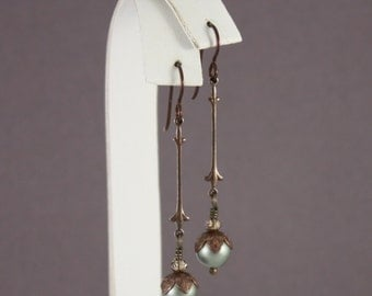 Brown Niobium earrings Vintaj Fleur De Lis Powder green by EarthsOpulence