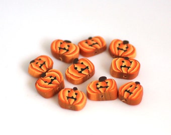 Jack O Lantern Beads, Polymer Clay Beads, Halloween Beads Orange and Black 10 Pieces