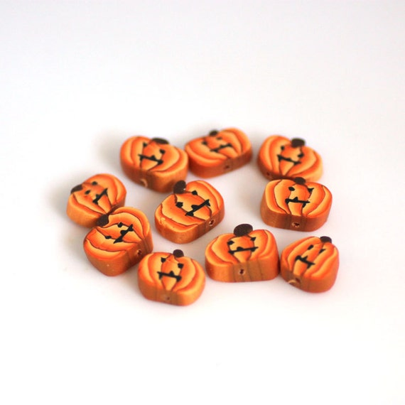 Jack O Lantern Beads, Polymer Clay Beads, Halloween Beads Orange and Black10 Pieces