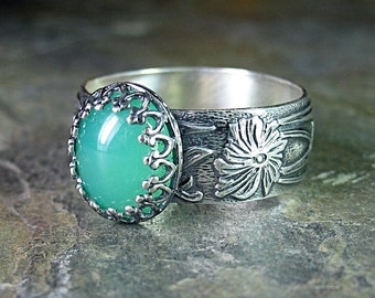 Gemstone ring in sterling silver with Chrysoprase, Green Onyx, Rose quartz, Amethyst, Mother of Pearl, or Black Onyx - Renaissance Garden