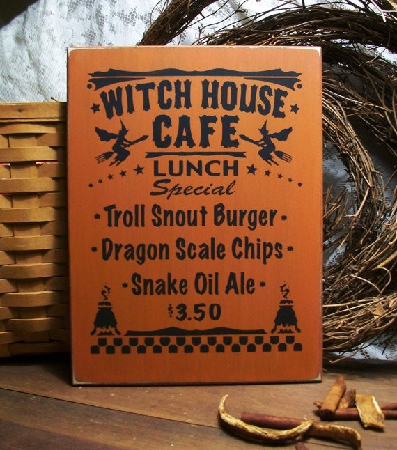 Items Similar To Wall Sign Witch House Cafe Lunch Kitchen Painted Wood Wall Decor On Etsy