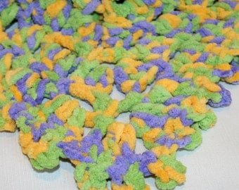 Crochet baby doll  Blanket Afghan 19 inch sq square Yellow Blue Green BBB19
