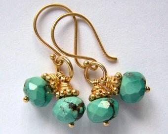Faceted Natural Turquoise Earrings Gold Vermeil Boho Southwestern Blue rustic bohemian Feminine Unique Urban Tribal Ethnic jewelry Handmade