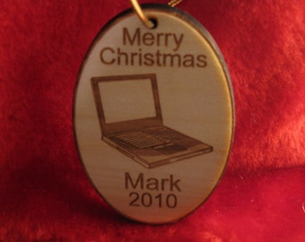 Christmas Ornament - Personalized wooden laptop computer christmas ornament
