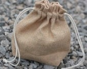 Natural jute drawstring knitting project bag - UK Seller