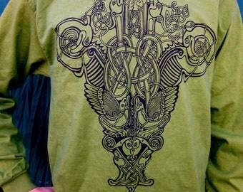 Green Celtic T-Shirt Shield Long Sleeve S, M, XL, 2X
