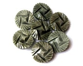 6 Antique vintage buttons beautiful grey, 16mm high quality unique design