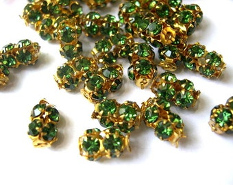 2 Vintage SWAROVSKI beads unique green rhinestones crystals in metal setting genuine 1100 made in Austria