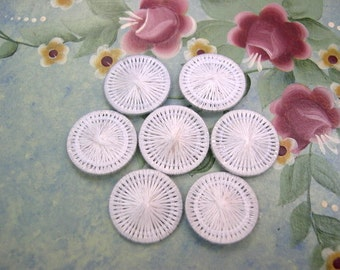 6 Vintage buttons made of white threads 15mm