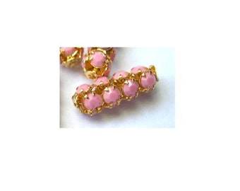 2 Vintage SWAROVSKI  beads pink opaque crystals in metal setting genuine 1100 made in Austria