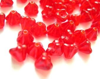 100 Czech glass flower beads bell shape red 6mmx5mm, NEW