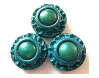 Buttons, 6 flowers blue green buttons, antique vintage 24mm, 13mm thick