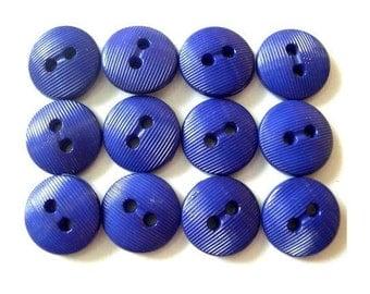 12 Vintage buttons blue purple plastic  13mm