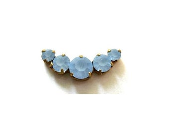 Antique vintage FROSTED BLUE, 2pcs,  Swarovski jewelry findings 5 rhinestone crystals in brass setting curve design