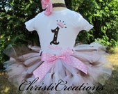 1st Birthday Petti Tutu Set--Baby Girl Party Outfit--Princess Crown--Personalized