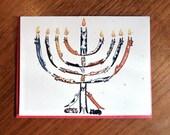 Cat Menorah Hanukkah Card