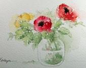 Three Flowers in Glass Jar Watercolor Painting Original