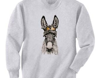 Donkey Crown Mule Burro Art Men's Sweatshirt Small - 2XL