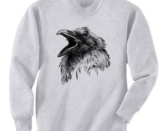 Raven Face Caw Bird Crow Art Men's Sweatshirt Small - 2XL