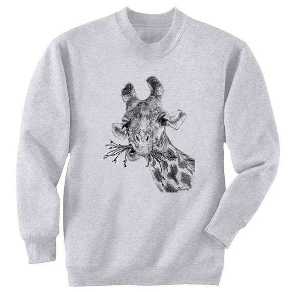 Giraffe Chewing Art Men's Sweatshirt Small - 2XL