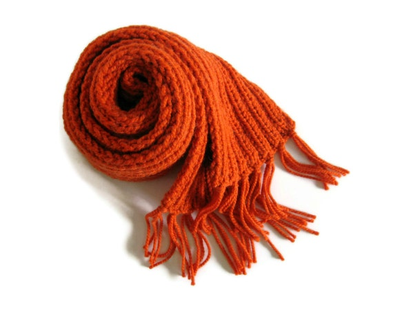 Chunky Scarf Hand Knitted in Orange Soft Wool Blend