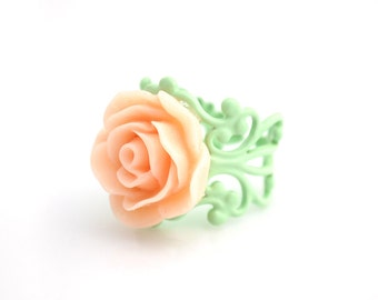 Peach and Mint Rose Ring