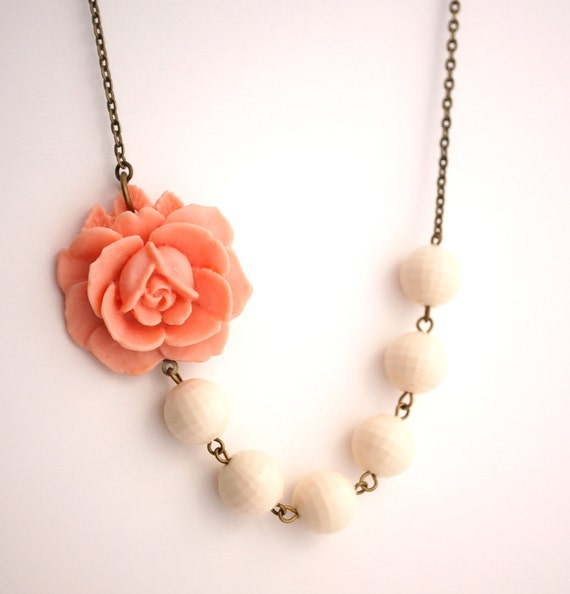 Asymmetrical Peach and Cream Rose Necklace