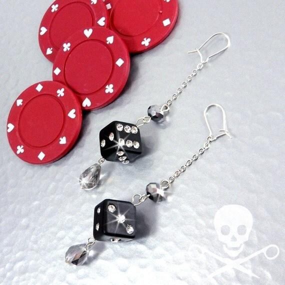 LUCKY SEVENS - Black Stone Dice Earrings
