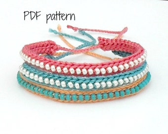 PDF Pattern - Crocheted Beaded Friendship Bracelet