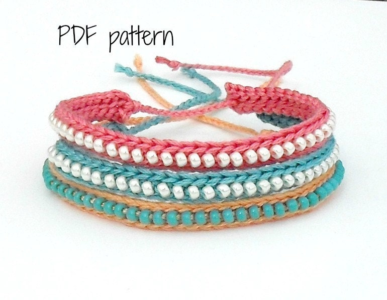 Crocheting Bracelets : PDF Pattern Crocheted Beaded Friendship Bracelet by yoghi911