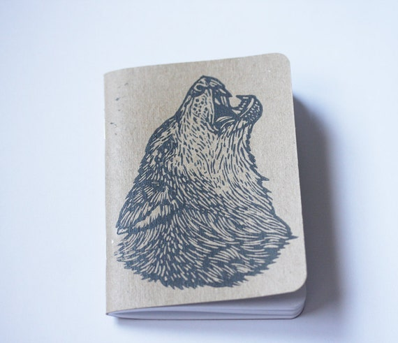 Linocut Wolf Pocket Notebook