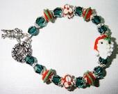 Ho Ho Ho Santa Lampwork Christmas Holiday Bracelet