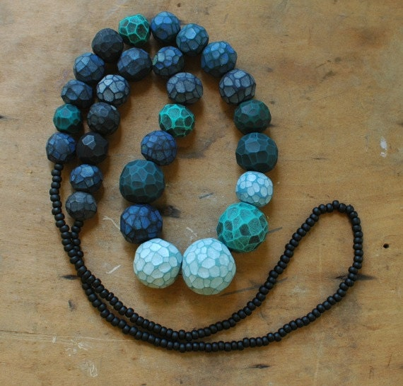 Fragment bead hand carved necklace in verdigris