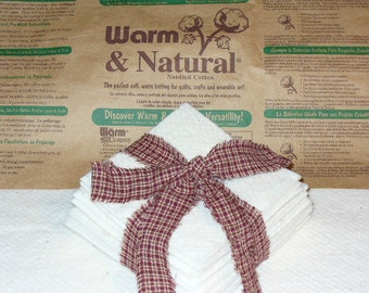 Batting Squares Rag Quilt 100 5 inch Warm and Natural for Rag Quilting