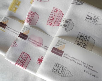 Houses, fat quarter bundle, cotton fabric, hand drawn, limited edition