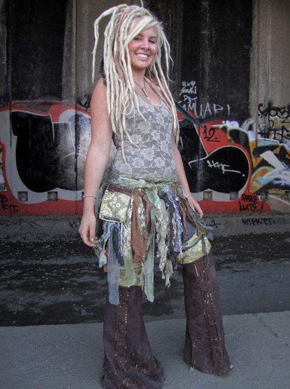 SALE Tattered Festival Wrap Skirt With Pocket