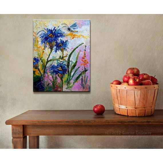 Blue Cornflowers avec Dragonfly Provence Modern Impressionist Original Oil Painting  by Ginette Callaway
