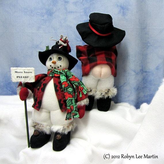 PDF Pattern Primitive Snowman Doll, Primitive Mouse,Soft SCulpture Snowman