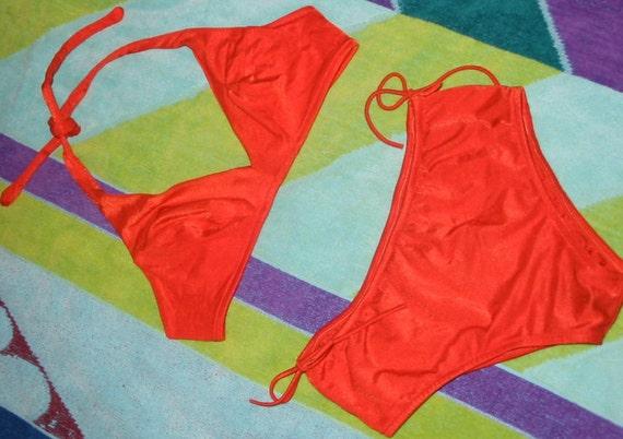 Vintage Super Cute and MOD 70s Orange Bikini Swimsuit