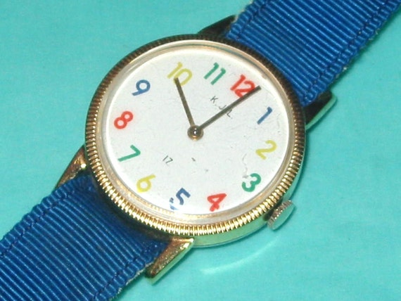 Vintage Kenneth J Lane 80s Wind-Up Rainbow Color Numbers Watch Signed KJL