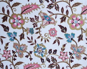 vintage 60s fabric - pink turquoise gold floral - cotton