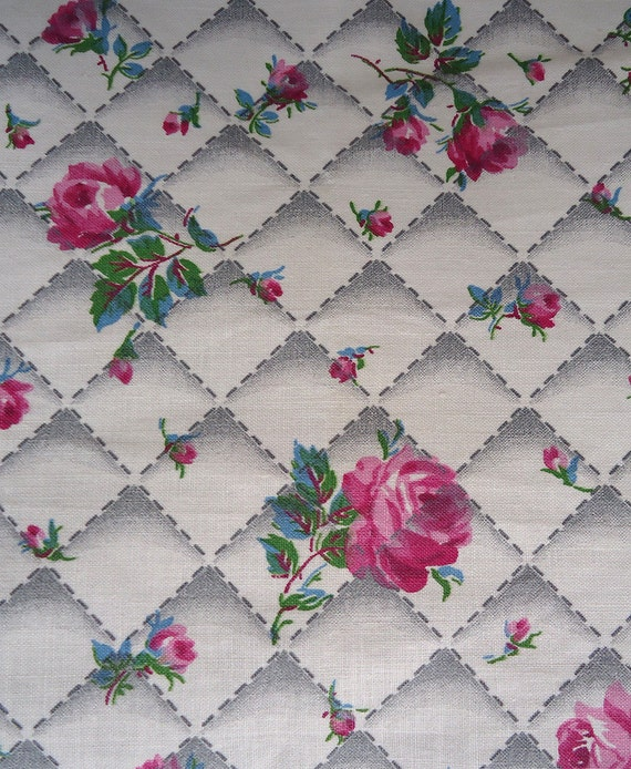 40s 50s vintage fabric - sweetest pink roses - darling cotton fabric