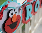 ELMO Custom Name Banner in Aqua Blue and Red by EKC